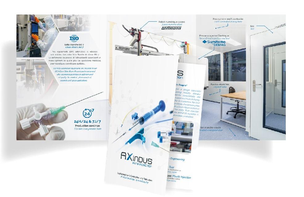 Conception et mise en page d'une plaquette commerciale pour la société Axindus à Louvigny