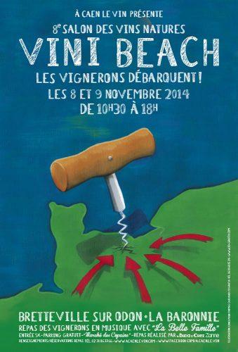 Affiche pour le salon des vins Natures Vini Beach entièrement réalisée à la main